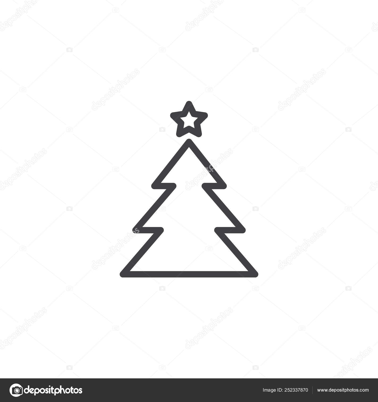 Xmas Tree With Star Outline Icon Stock Vector C Avicons 252337870