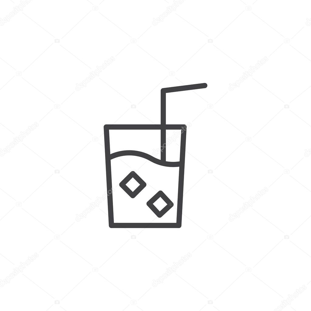 drink glass with ice cubes and straw free icon flaticon - HD1024×1024