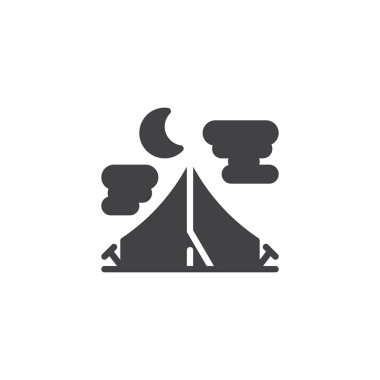 Summer night camping tent vector icon