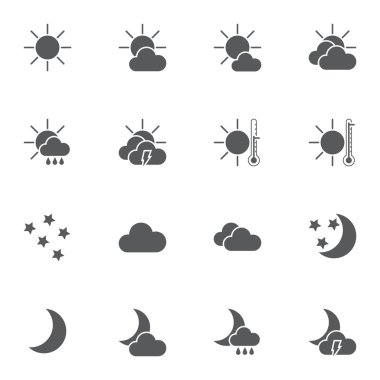 Abstract weather vector icons set, modern solid symbol collection, filled style pictogram pack. Signs, logo illustration. Set includes icons as clear night, cloudy day, overcast, thermometer, clouds icon