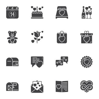Love and Valentines day vector icons set, modern solid symbol collection, filled style pictogram pack. Signs, logo illustration. Set includes icons as calendar page, gift box, love message, hearts icon