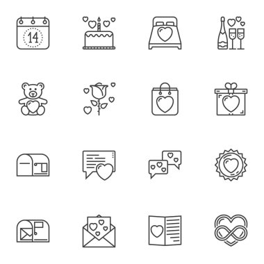 Love and Valentines day line icons set. linear style symbols collection, outline signs pack. vector graphics. Set includes icons as calendar page with 14 february date, gift box, love message, hearts icon