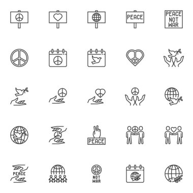 International Day of Peace line icons set. linear style symbols collection, outline signs pack. vector graphics. Set includes icons as not war sign, pacifism, world calendar with dove, olive branch icon