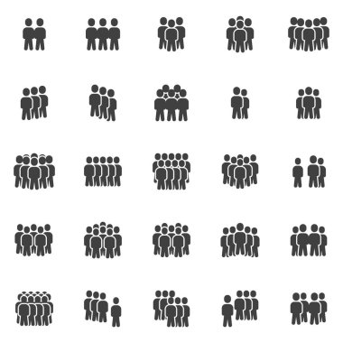 Crowd of people vector icons set, modern solid symbol collection, filled style pictogram pack. Signs, logo illustration. Set includes icons as office staff, people organization group leader, teamwork icon