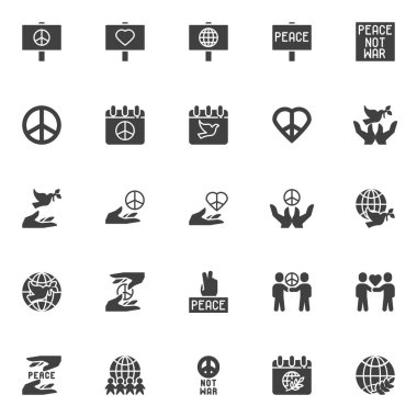 International Day of Peace vector icons set, modern solid symbol collection filled style pictogram pack. Signs logo illustration. Set includes icons as pacifism, world calendar with dove, olive branch icon