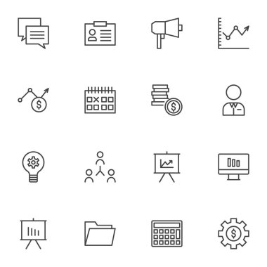 Business and finance line icons set, outline vector symbol collection, linear style pictogram pack. Signs logo illustration. Set includes icons - conversation, business graph, money gear, presentation icon