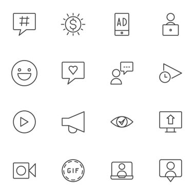 Blogging line icons set, outline vector symbol collection, linear style pictogram pack. Signs, logo illustration. Set includes icons as influencer, online streaming, comment, advertising, feedback icon