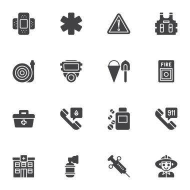 Emergency service vector icons set, modern solid symbol collection, filled style pictogram pack. Signs logo illustration. Set includes icons as fireman, protective mask, safety west, hospital building icon