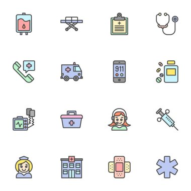 Ambulance service filled outline icons set, line vector symbol collection, linear colorful pictogram pack. Signs logo illustration, Set includes icons as emergency rescue, medical stretcher, hospital icon
