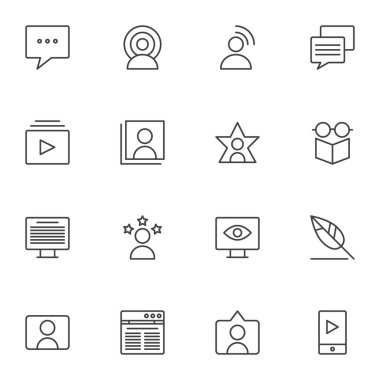 Blogger, influencer line icons set, outline vector symbol collection, linear style pictogram pack. Signs logo illustration. Set includes icons as forum message, feedback, copywriting, website, comment icon