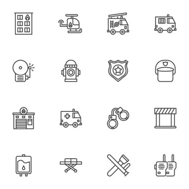 Emergency services line icons set, outline vector symbol collection, linear style pictogram pack. Signs, logo illustration. Set includes icons as police, firefighter, ambulance truck, fire alarm icon