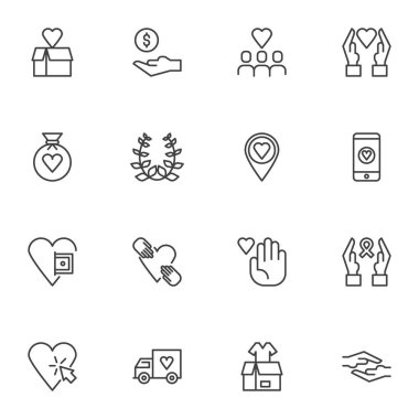 Charity and donation line icons set, outline vector symbol collection, linear style pictogram pack. Signs, logo illustration. Set includes icons as money donate, hand giving heart, awareness ribbon icon