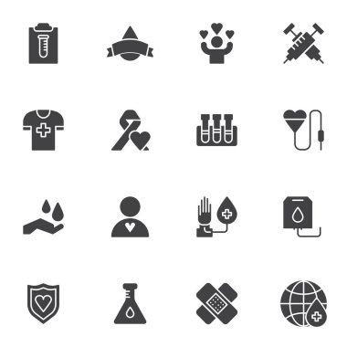 Hematology vector icons set, blood donation modern solid symbol collection, filled style pictogram pack. Signs logo illustration. Set includes icons - heart blood transfusion, laboratory test, plaster icon
