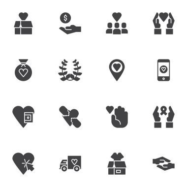 Charity and donation vector icons set, modern solid symbol collection, filled style pictogram pack. Signs, logo illustration. Set includes icons as money donate, hand giving heart, awareness ribbon icon