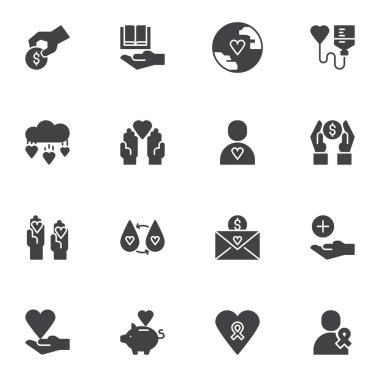Charity donation vector icons set, modern solid symbol collection, filled style pictogram pack. Signs, logo illustration. Set includes icons as giving help, donating money, blood transfusion, heart icon
