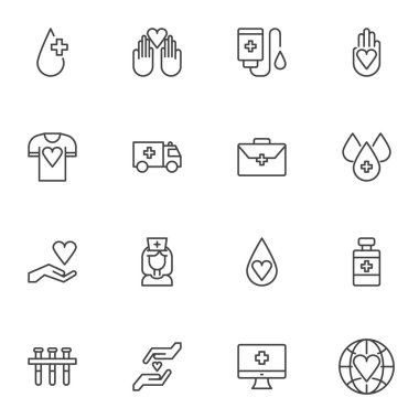 Blood donation line icons set, outline vector symbol collection, linear style pictogram pack. Signs logo illustration. Set includes icons - blood transfusion, medical pill, nurse, laboratory test tube icon
