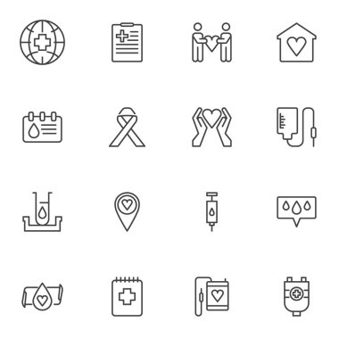 Charity, blood donation line icons set, outline vector symbol collection, linear style pictogram pack. Signs, logo illustration. Set includes icons as blood test, blood bag, cancer ribbon, volunteer icon