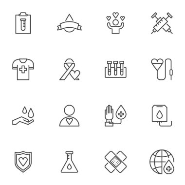 Hematology line icons set, blood donation outline vector symbol collection, linear style pictogram pack. Signs logo illustration. Set includes icons - heart blood transfusion, laboratory test, plaster icon