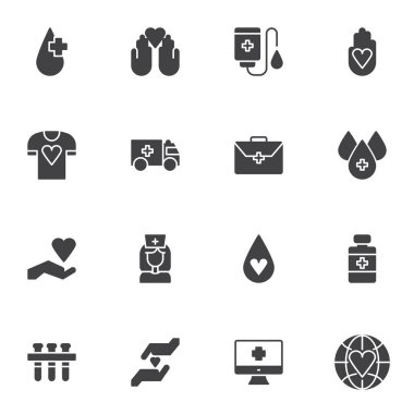 Blood donation vector icons set, modern solid symbol collection, filled style pictogram pack. Signs logo illustration. Set includes icons - blood transfusion, medical pill, nurse, laboratory test tube icon