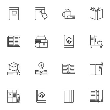 Books line icons set, outline vector symbol collection, linear style pictogram pack. Signs, logo illustration. Set includes icons as online ebook download, bookshelf, literature, book page, notebook