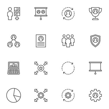 Corporate business line icons set, outline vector symbol collection, linear style pictogram pack. Signs, logo illustration. Set includes icons as business management, workgroup, personal skills icon