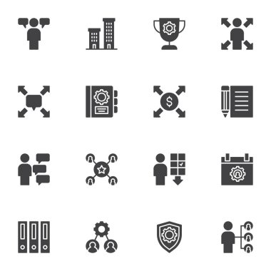 Corporate business vector icons set, modern solid symbol collection, filled style pictogram pack. Signs, logo illustration. Set includes icons as business opportunity, cooperation, team leader, office icon