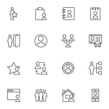 User contact line icons set, outline vector symbol collection, linear style pictogram pack. Signs, logo illustration. Set includes icons as contact address book, driver license, people group, friends icon
