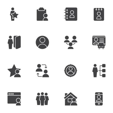 User contact vector icons set, modern solid symbol collection, filled style pictogram pack. Signs, logo illustration. Set includes icons as contact address book, driver license, people group, friends icon