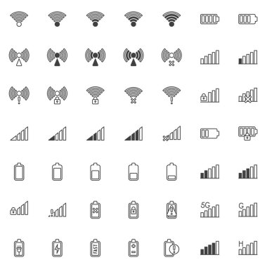 Mobile phone signal line icons set. linear style symbols collection, outline signs pack. vector graphics. Set includes icons as wifi signal strength, battery charge level, wireless network connection icon