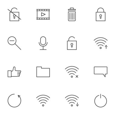 User interface line icons set, ui outline vector symbol collection, linear style pictogram pack. Signs, logo illustration. Set includes icons as wifi antenna, wireless connection signal, chat comment icon
