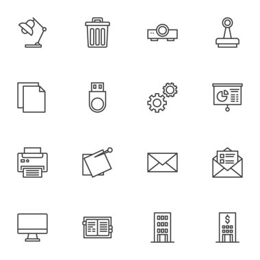Business and office line icons set, outline vector symbol collection, linear style pictogram pack. Signs, logo illustration. Set includes icons as bank building, presentation projector, printer, stamp icon