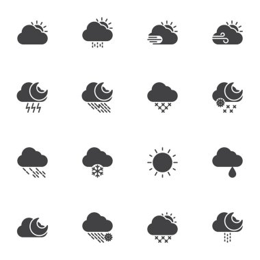 Weather vector icons set, modern solid symbol collection, filled style pictogram pack. Signs, logo illustration. Set includes icons as sunny weather, overcast, snow, rainy cloud, storm, summer, winter icon