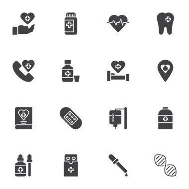 Medicine and health vector icons set, modern solid symbol collection, filled style pictogram pack. Signs, logo illustration. Set includes icons as medical pills, dna, heart cardiogram, emergency call icon