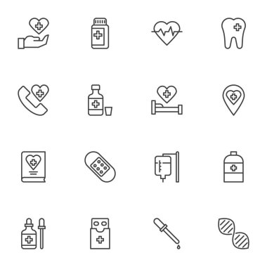 Medicine and health line icons set, outline vector symbol collection, linear style pictogram pack. Signs, logo illustration. Set includes icons as medical pills, dna, heart cardiogram, emergency call icon