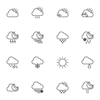Weather line icons set, outline vector symbol collection, linear style pictogram pack. Signs, logo illustration. Set includes icons as sunny weather, overcast, snow, rainy cloud, storm, summer, winter icon