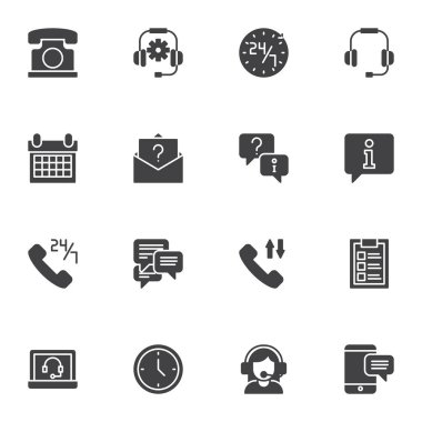 Customer service vector icons set, modern solid symbol collection, filled style pictogram pack. Signs, logo illustration. Set includes icons as call center support, faq, technical support operator icon