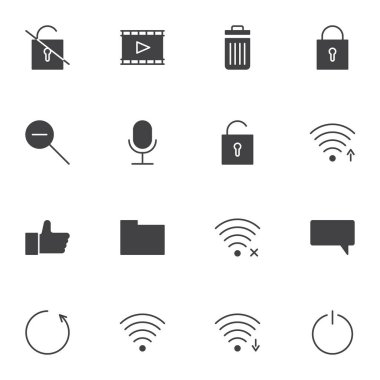 User interface vector icons set, ui modern solid symbol collection, filled style pictogram pack. Signs, logo illustration. Set includes icons as wifi antenna, wireless connection signal, chat comment icon
