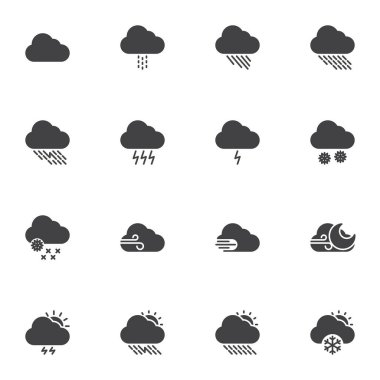 Weather cloud vector icons set, modern solid symbol collection, filled style pictogram pack. Signs logo illustration. Set includes icons - rain, storm, snow, wind, sun, lightning, meteorology forecast icon