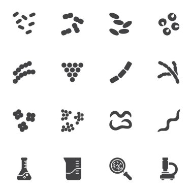 Laboratory bacteria cells vector icons set, modern solid symbol collection, filled style pictogram pack. Signs, logo illustration. Set includes icons as staphylococcus, lactococcus, pneumococcus icon