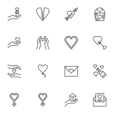 Valentine day hearts line icons set, outline vector symbol collection, linear style pictogram pack. Signs, logo illustration. Set includes icons as charity, hand with heart, champagne bottle, greeting icon
