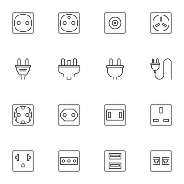 Plug and socket line icons set, outline vector symbol collection, linear style pictogram pack. Signs, logo illustration. Set includes icons as electrical switch, ethernet network connector, cable icon