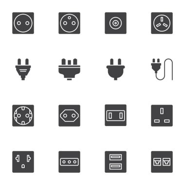 Plug and socket vector icons set, modern solid symbol collection, filled style pictogram pack. Signs, logo illustration. Set includes icons as electrical switch, ethernet network connector, cable icon