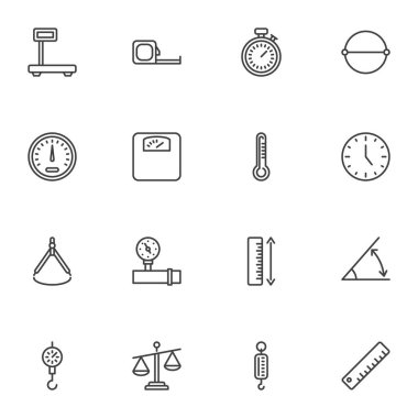 Scale measurement line icons set, outline vector symbol collection, linear style pictogram pack. Signs, logo illustration. Set includes icons as measuring tape, thermometer, pressure gauge, ruler icon