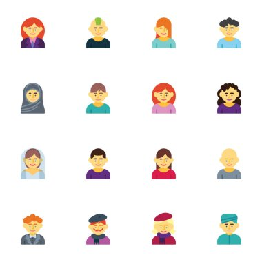 People avatar, character collection, flat icons set, Colorful symbols pack contains - hipster man, muslim woman, artist, groom and bride. Vector illustration. Flat style design icon