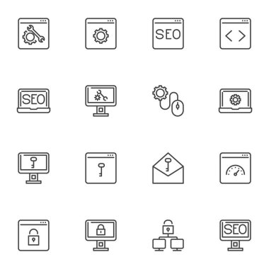 SEO optimization icons set, web development outline vector symbol collection, linear style pictogram pack. Signs, logo illustration. Set includes icons as technical support, website code, security icon