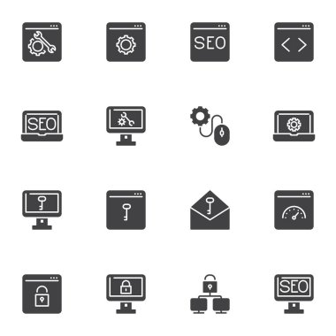 SEO optimization vector icons set, modern solid symbol collection, web development filled style pictogram pack. Signs, logo illustration. Set includes icons as technical support, website code icon