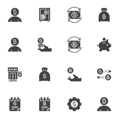 Banking and finance vector icons set, modern solid symbol collection, filled style pictogram pack. Signs, logo illustration. Set includes icons as money exchange, piggy bank, deposit box, dollar coin icon