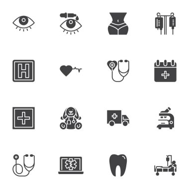 Medical vector icons set, modern solid symbol collection, filled style pictogram pack. Signs, logo illustration. Set includes icons as eye drops, blood bag, hospital, stethoscope, dental, microscope icon