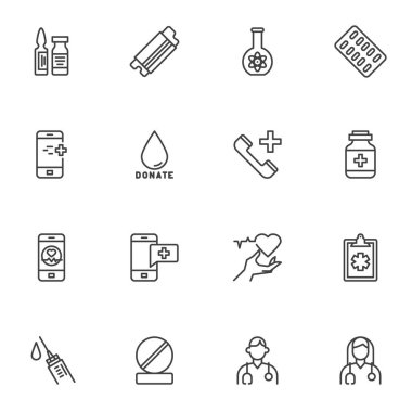 Medical related line icons set, outline vector symbol collection, linear style pictogram pack. Signs, logo illustration. Set includes icons as face mask, medicine pills, blood donation, doctor, nurse icon