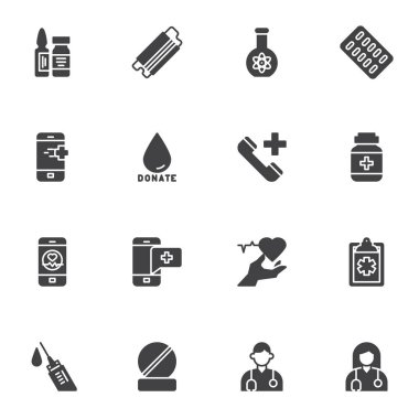 Medical related vector icons set, modern solid symbol collection, filled style pictogram pack. Signs, logo illustration. Set includes icons as face mask, medicine pills, blood donation, doctor, nurse icon